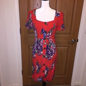 Anthropologie Maeve floral button up dress